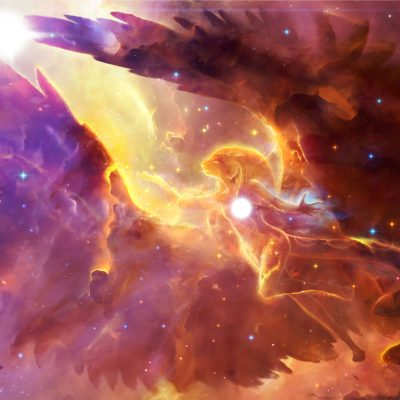 Abstract 3d rendering illustration of an ancient egyptian powerful god with wings controlling a star